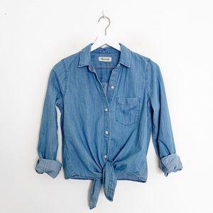 Madewell Front Tie Denim Button Down Shirt